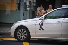 Taxi avec le logo de souvenir Photos stock