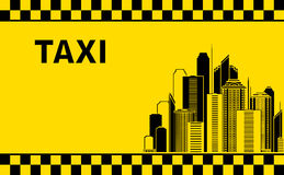 Taxi background with city landscape Stock Image