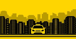 Taxi background with city landscaping Royalty Free Stock Image