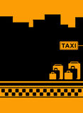 Taxi background with luggage and cab symbol Stock Photography