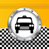 Taxi background with ripped paper and metallic icon Royalty Free Stock Photo