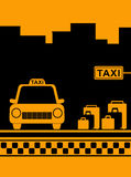 Taxi background with taxi stop and bag Royalty Free Stock Image