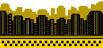 Taxi background with urban landscape Stock Images