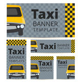 Taxi banner template set with cab on a grey black and yellow bac Stock Photography