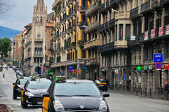 Taxi a Barcellona Immagini Stock Libere da Diritti