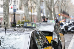 Taxi in Barcelona, Catalunya, Spain. Royalty Free Stock Images