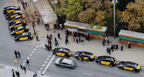 Taxi in Barcelona are on the riser. View from above. Royalty Free Stock Photography