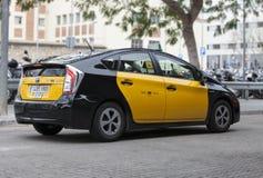 Taxi in Barcelona, Spain. Hybrid car. Stock Image