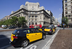 Taxi in Barcelona, Spain Stock Images