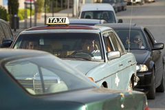 A taxi, Beirut, Lebanon. A taxi in traffic in Beirut, Lebanon Stock Images
