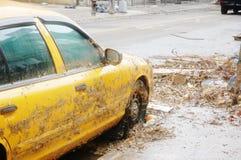 Taxi bij dalingsseizoen Stock Afbeelding