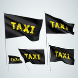 Taxi - black vector flags Royalty Free Stock Photography