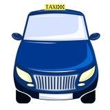 Taxi bleu La voiture est une vue de face D'isolement sur le blanc Images libres de droits
