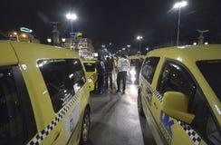 Taxi blokują centrum przy 24 Marzec, 2016 w Sofia, Bułgaria Zdjęcie Stock