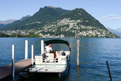 A taxi boat on Lake Lugano Stock Photos