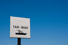 Taxi boat sign photo Royalty Free Stock Images