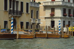 Taxi boat station in Venice Royalty Free Stock Photos