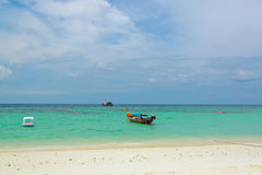 Taxi boat is waiting for tourist on Lipe island,Thailand Royalty Free Stock Image