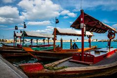 Taxi boats in the middle east near the markets royalty free stock photos