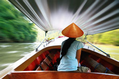 Taxi boats that use in Thailand Stock Photo