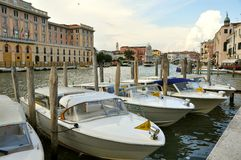 Taxi boats in Venice , Italy Stock Photos