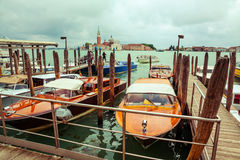 Taxi boats in Venice, Italy Royalty Free Stock Image
