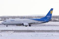 Taxi Boeings 737-800 stockbilder