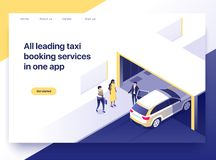 Taxi booking application concept. Business people getting a taxi using a smartphone. Landing page concept, isometric. Illustration royalty free illustration
