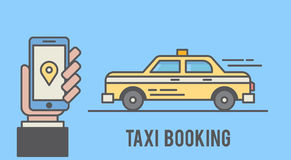 Taxi booking with mobile phone interface. Flat line styled illustration Stock Images
