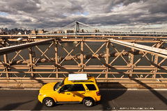Taxi on bridge Stock Image