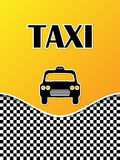 Taxi brochure design with cab silhouette Stock Photos