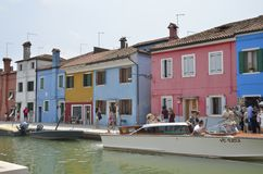 Taxi on Burano Canal Royalty Free Stock Photo