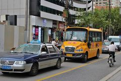 Taxi and bus Stock Image