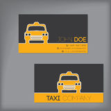 Taxi business card with cab silhouette Stock Photo