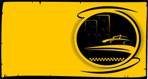 Taxi button with cab silhouette and city house Stock Photo