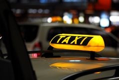 Taxi cab. A german cab at berlin airport stock photo