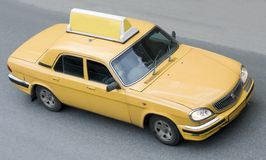 Taxi cab. A taxi cab drives on the road Royalty Free Stock Photography