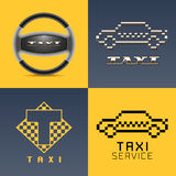 Taxi, cab, car hire set of vector logo, icon, app emblem, symbol. Pixel yellow cars, steering wheel graphic design element royalty free illustration