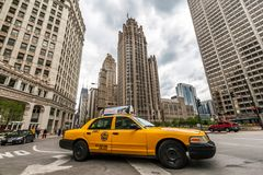 Taxi cab in downtown Chicago Royalty Free Stock Image