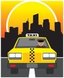 Taxi. Cab driver cruising through city at night Royalty Free Stock Photo