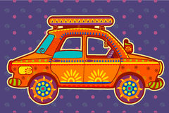 Taxi cab in Indian art style Royalty Free Stock Image
