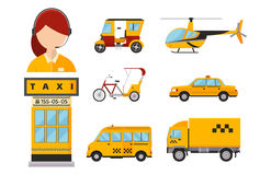 Taxi cab isolated vector illustration passengers car transport yellow icon sign city truck van helicopter bicycle. Different types of taxi transport. Cars Royalty Free Stock Photo