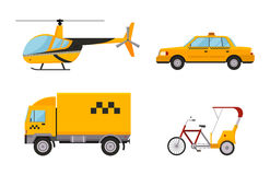 Taxi cab isolated vector illustration white background passenger car transport yellow icon sign city truck van cargo. Different types of taxi transport. Cars Stock Images