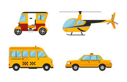 Taxi cab isolated vector illustration white background passenger car transport yellow icon sign city truck van cargo. Different types of taxi transport. Cars Royalty Free Stock Image
