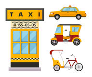 Taxi cab isolated vector illustration white background passenger car transport yellow icon sign city truck van cargo. Different types of taxi transport. Cars Stock Photography