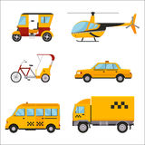 Taxi cab isolated vector illustration white background passenger car transport yellow icon sign city truck van cargo. Different types of taxi transport. Cars Royalty Free Stock Photos