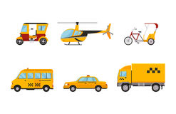 Taxi cab isolated vector illustration white background passenger car transport yellow icon sign city truck van cargo. Different types of taxi transport. Cars Royalty Free Stock Images