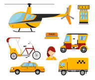 Taxi cab isolated vector illustration white background passenger car transport yellow icon truck van cargo helicopter. Different types of taxi transport. Cars Royalty Free Stock Photo