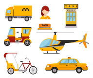 Taxi cab isolated vector illustration white background passenger car transport yellow icon truck van cargo helicopter. Different types of taxi transport. Cars Stock Image