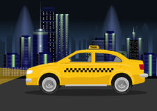 Taxi cab of night city Stock Image